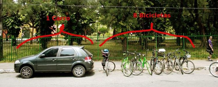 Cabem oito bicicletas no espaço de um carro