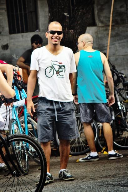 Érico Andrade no evento de inaguração da AmeCiclo