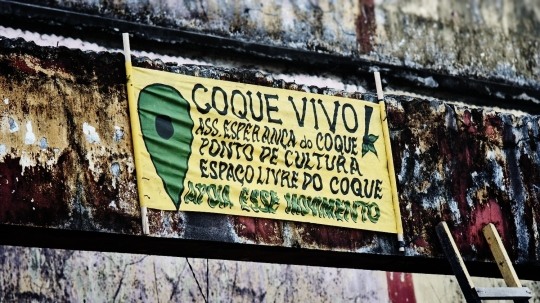 Faixa colocada no último #OcupeEstelita com entidades e movimentos do Coque que apoiam a luta contra o Projeto Novo Recife