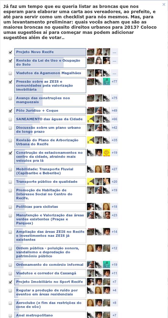 4ca1dbe3c7 Print das opções mais votadas na enquete de 2013.