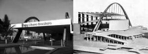 Figuras 7 e 8 - Clube Líbano em Recife e maquete do projeto de 1931 de Le Corbusier para o Palácio dos Soviets em Moscou.