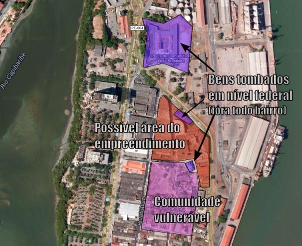 Área da fábrica e elementos urbanos diretamente ameaçados no seu entorno