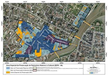 Mapa da área do Plano Urbanístico da ZEPH-8 com destaques dos setores e dos Imóveis Especiais de Preservação